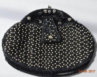 Vintage Black Beaded Clutch, Purse, Bag, Evening