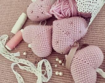 Crochet heart.  Amigurumi heart! knitted heart! Crochet heart decor!