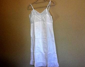 Antique Ladies Slip Petticoat - White Cotton