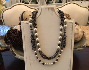 Keisha Pearls, White Pearls and Seed Pearl 2 Strand Necklace