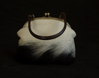 Black and White Felted Bag