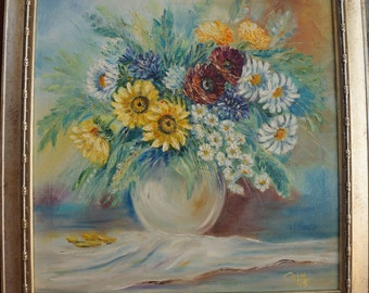 Flowers Oil Painting,Bunch of flowers,Flowers picture,Original oil,Flowers,Flowers Fine Art,Home and ofice decor,Canvas Painting,Wall Art