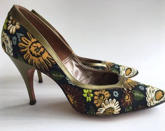 Vintage Pumps Henry Waters High Heels Vintage Green Floral Pumps 1960s Women's Shoes Vintage Pumps Vintage Designer