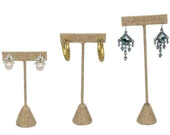 Ikee Design Linen T Shape Earring Stand and Jewelry Display (SKU#ED-2433N-SET)
