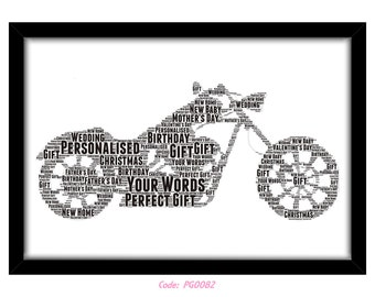 PERSONALISED Harley Davidson Word Art Wall Print Gift Idea Birthday For Him Son Dad Grandad Motorcycle Motorbike Cruiser Motor Bike PG0082