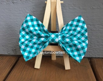 Aqua cross check dog bow tie