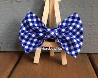 Blue cross check, dog bow tie