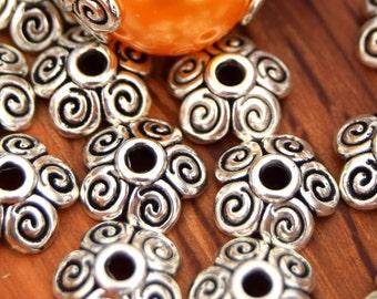 10 cups caps Fleur spiral silver aged 10mm ref PC2016010