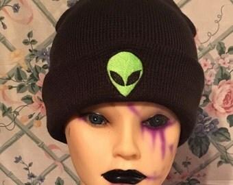 Green alien beanie