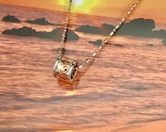 Sterling Silver Hawaiian 14K Rose Two Toned 8mm Maile Bead with TwoToned Sterling Silver Bead Chain (P1021)