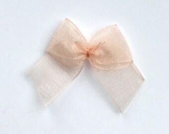 10, peach organza bows, peach ribbon bows, peach bows, wedding supplies, organza ribbon bows, 12mm ribbon bows, cardmaking supplies uk