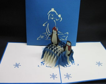 3-D Penguins Pop-Up Card