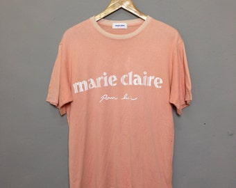 Vintage MARIE CLAIRE Beauty Magazine / Designer spell out Soft orange Size M T-Shirt