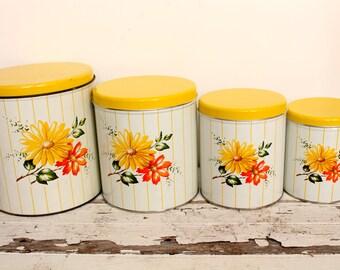 Vintage Decoware Floral Canister Set
