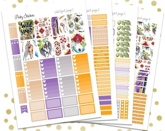 Wild Spirit Weekly Kit for Erin Condren   Printable   Includes Blackout Files for Easy Cutlines