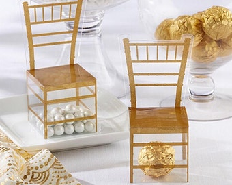 Set of 24 Gold Chair Favor Box Wedding/Anniversary/Party