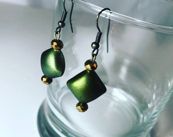Festive holiday earrings in green. Drop earrings. Gifts for her