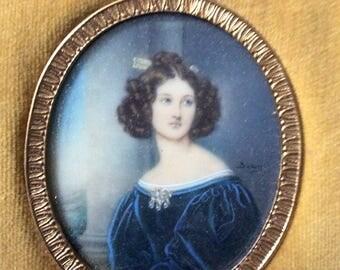 FRANCE 19th ANTIQUE PAINTING Miniature - Genuine artist fine painting-Beautiful Lady - velvet, Bronze, Silk - from France - Antik