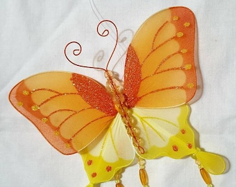 Butterfly, wall hanging, yellow and orange butterfly with beads