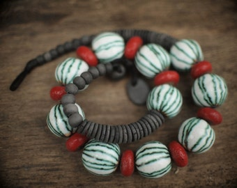 Artisan ceramic necklace with glazed  beads