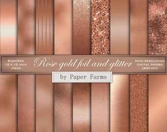 Rose gold digital paper, rose gold foil digital paper, rose gold scrapbook paper, rose gold glitter, rose gold foil scrapbook paper, wedding