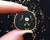 C-Grade Happy Black Bear Pin - Enamel Pin, Lapel Pin, Kawaii Pin, Cute Pin, Animal Pin, Cloisonné, Pin Badge, Gold Hard Enamel