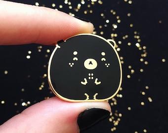 C-Grade Happy Black Bear Pin - Enamel Pin, Lapel Pin, Kawaii Pin, Cute Pin, Animal Pin, Cloisonné, Pin Badge, Gold Hard Enamel