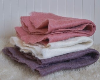 2 Felted Blankets/ newborn photo prop/ backdrop/ felted wraps