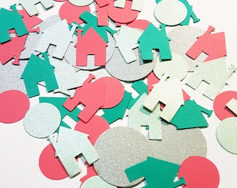 Little houses confetti for house warming, table decoration, scrapbooking, card making and paper craft.