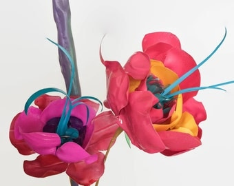 Funky Colourful Flowers made from upcycled plastic bottles. Eco friendly gift.