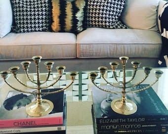 PAIR of Brass 7 arm candelabras/candleholders
