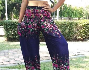 Flower Harem Pants Women,Yoga Pants Drop Crotch Aladdin Pants Maxi Pants Baggy Pants Gypsy pants,Bohemain Pants,Prussian blue TU012PB