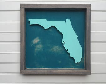 Mini State Sign, State Sign, State Cutout, Framed State Sign
