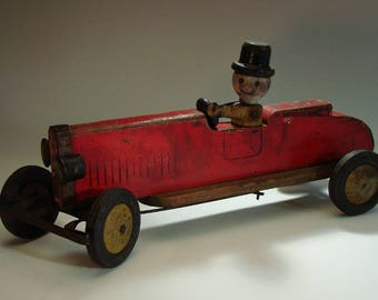 """Toy Car, Roadster, Wood, 1930""""s"""