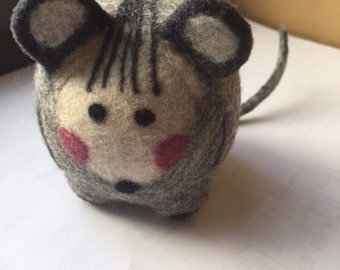 Unique, handmade felt toy. Critters from Kyrgyzstan : artisan made felt animals (Mouse) Perfect gift!!! Multi purpose charming companion.