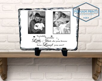 Personalised New Born Baby Photo Plaque/Slate with Quote