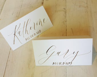 Calligraphy Place Cards / white paper with walnut ink / printed last names