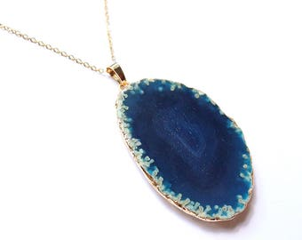 Blue Agate Necklace Gold Chain - Large Agate Slice Necklace Blue Quartz Necklace Blue Geode Necklace Blue Necklace