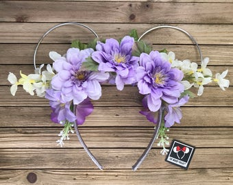 Lavender Boho Wire Mickey Ears with Floral Crown | Minnie Ears | Mickey Ears | Free Shipping