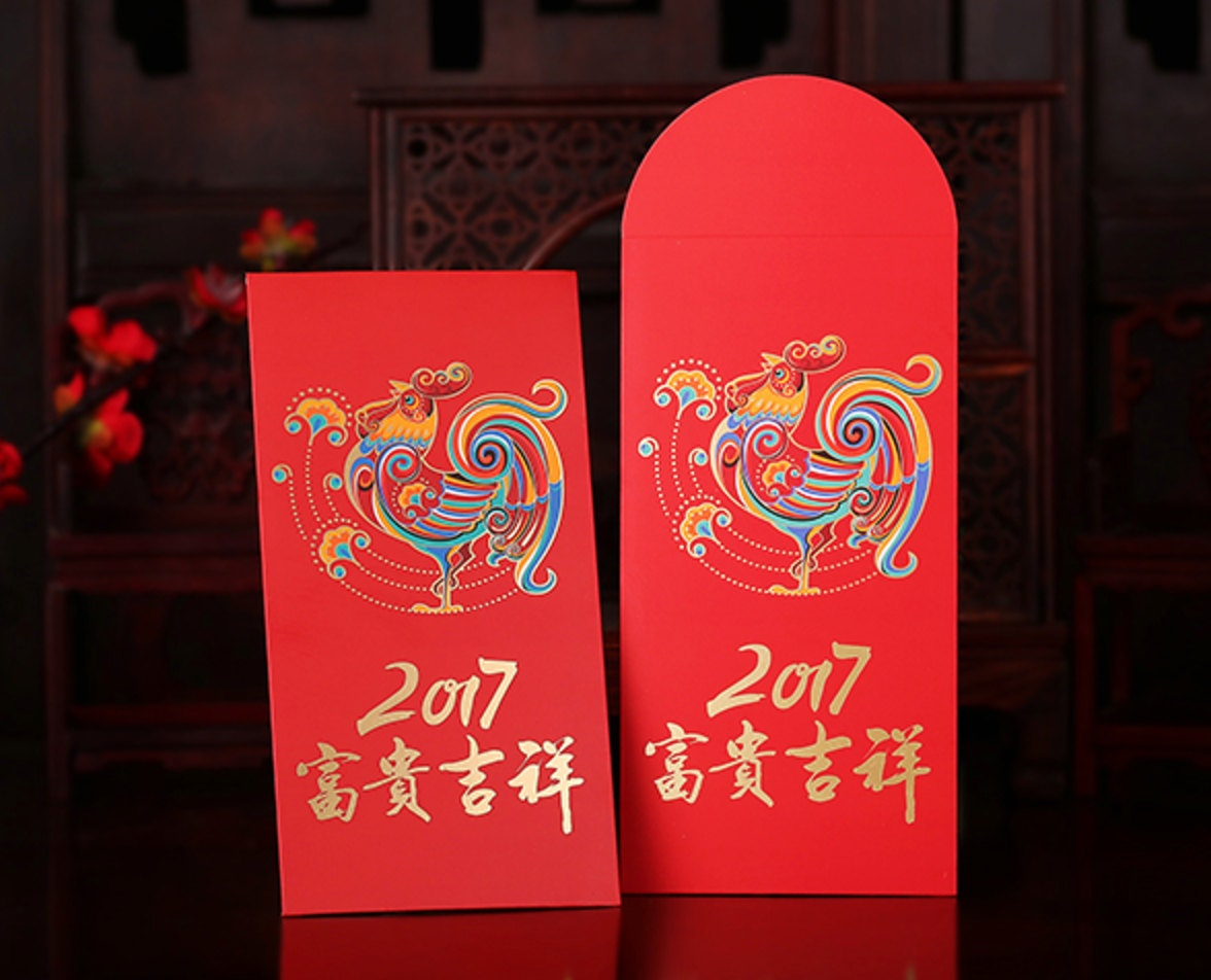6 Chinese New Year of the Rooster Red Envelopes / Money
