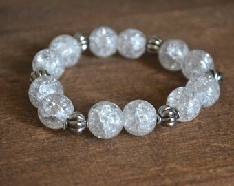 Bracelet with crackled glass 12 mm beads