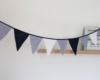 Linen bunting Fabric flag banner 1st Birthday banner Burlap pennants banner Triangle banner Photo prop Party banner decor Navy white gingham