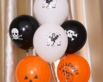 12 Halloween Balloons -Variety Pack, Orange and Black Balloons, Party Balloons, Decorative Balloons, Pumpkin Balloons, Skull Balloons