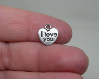 "16  Silver Tone ""I Love You"" Charms. B-001"