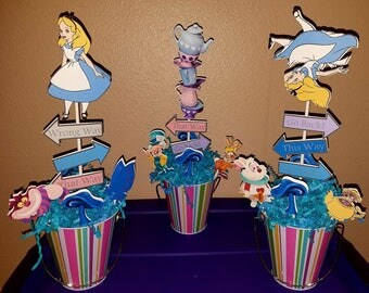 Alice in Wonderland Centerpieces-Set of 3