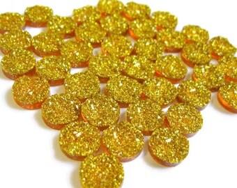 12mm Gold Cabochon Faux Druzy -  Druzy Cabochons (30)