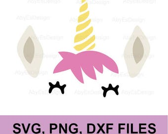 Unicorn SVG , Unicorn face, DXF, PNG, silhouette, cricut, Cut Files.