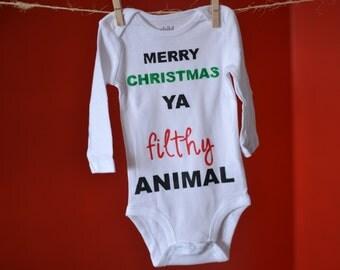 Merry christmas ya filthy animal baby | Etsy