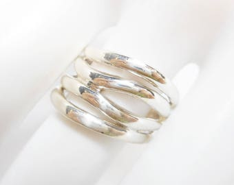 Sterling Band, Multi Band Ring, Rings, Silver Band Ring, Band Ring, Sterling Silver 15.4 mm Wide Multi Band Ring Sz 8.5 #2599