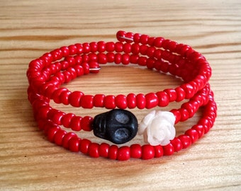 Day of the Dead Dia de los Muertos Coil Bracelet, Red Skull & Rose Wrap Bracelet, Sugar Skull Wrap Bracelet